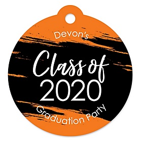 Orange Grad - Best is Yet to Come - Round Personalized 2020 Graduation Party Die-Cut Tags - 20 ct