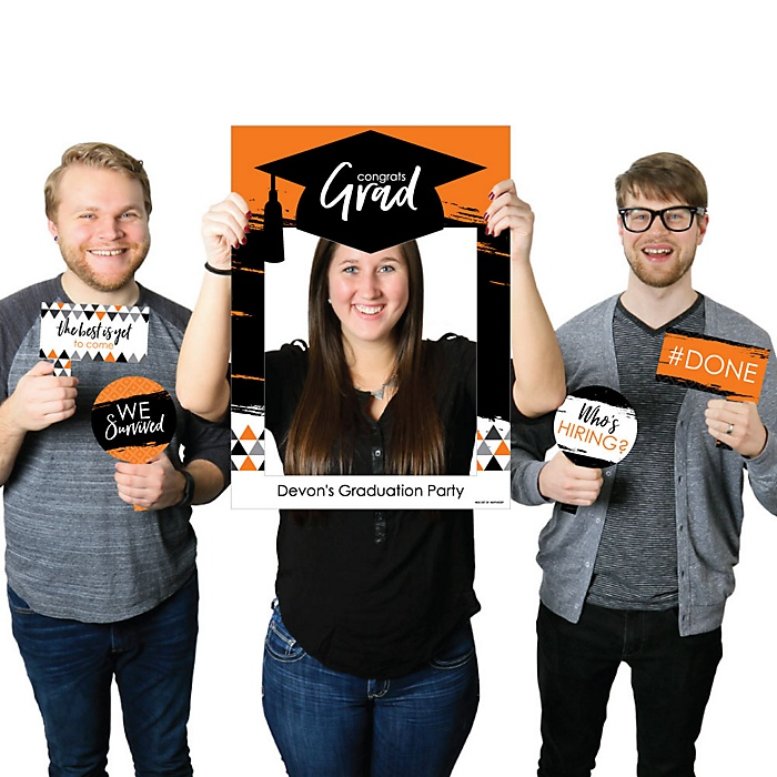 Orange Grad - Best is Yet to Come - Personalized Graduation Party Selfie Photo Booth Picture Frame & Props - Printed on Sturdy Material
