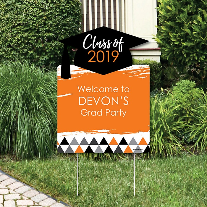 Orange Grad - Best is Yet to Come - Party Decorations - 2019 Graduation Party Personalized Welcome Yard Sign