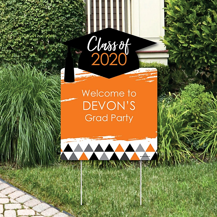 Orange Grad - Best is Yet to Come - Party Decorations - 2020 Graduation Party Personalized Welcome Yard Sign