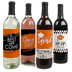 Orange Grad - Best is Yet to Come - 2019 Graduation Decorations for Women and Men - Wine Bottle Label Stickers - Set of 4