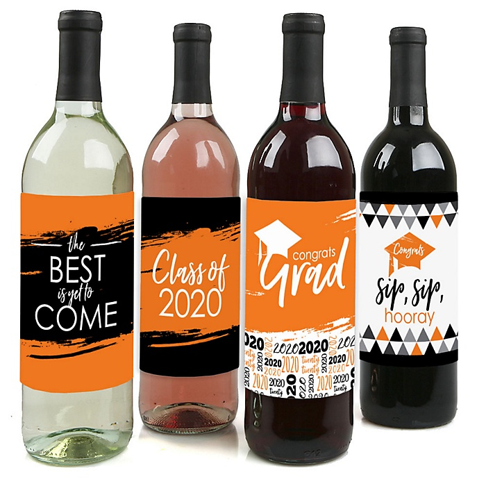 Orange Grad - Best is Yet to Come - 2020 Graduation Decorations for Women and Men - Wine Bottle Label Stickers - Set of 4