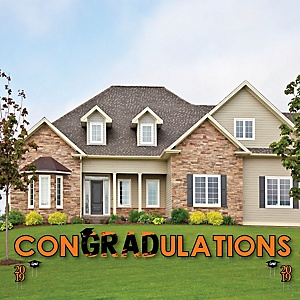 conGRADulations - Orange Grad - Best is Yet to Come - Yard Sign Outdoor Lawn Decorations - Orange 2019 Graduation Party Yard Signs