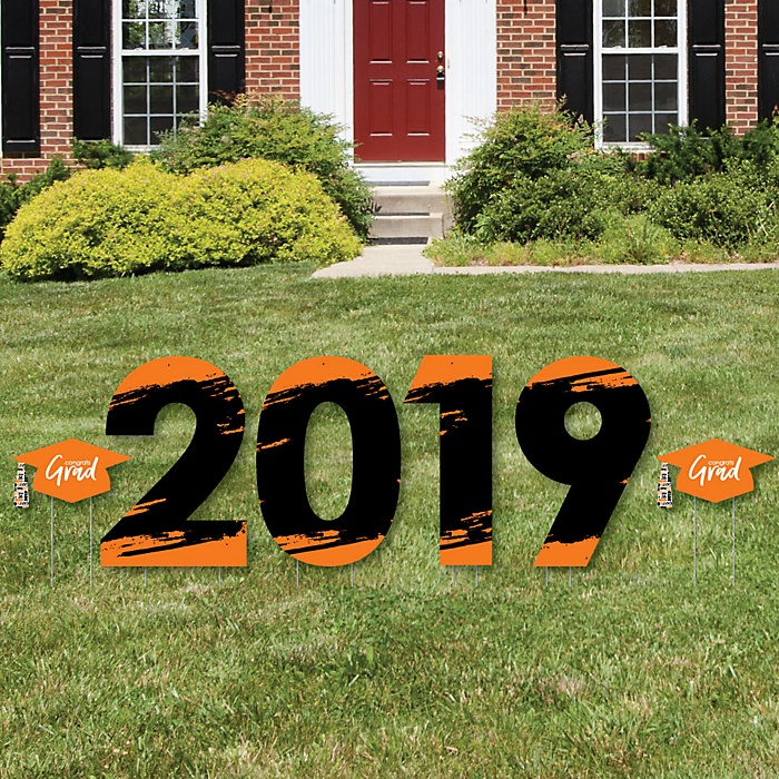 Orange Grad - Best is Yet to Come - 2019 Yard Sign Outdoor Lawn Decorations - Orange Graduation Party Yard Signs - 2019