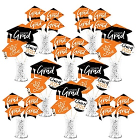 Orange Grad - Best is Yet to Come - 2020 Orange Graduation Party Centerpiece Sticks - Showstopper Table Toppers - 35 Pieces