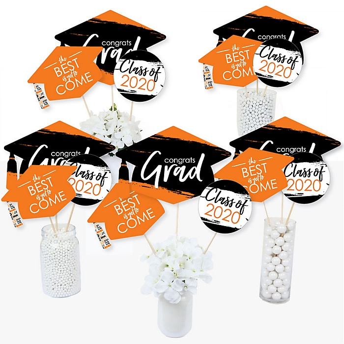 Orange Grad - Best is Yet to Come - 2020 Orange Graduation Party Centerpiece Sticks - Table Toppers - Set of 15