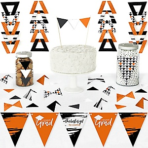 Orange Grad - Best is Yet to Come - DIY Pennant Banner Decorations - Orange Graduation Party Triangle Kit - 99 Pieces