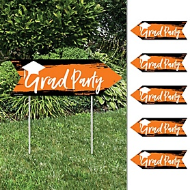 Orange Grad - Best is Yet to Come - Arrow Graduation Party Direction Signs - Double Sided Outdoor Yard Signs - Set of 6