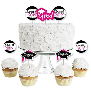 Pink Grad - Best is Yet to Come - Dessert Cupcake Toppers - Pink 2019 Graduation Party Clear Treat Picks - Set of 24