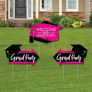 Pink Grad - Best is Yet to Come - 2 Pink Graduation Party Arrows and 1 Welcome / Thank You Lawn Sign - Double Sided Grad Yard Sign Set - 3 Pieces