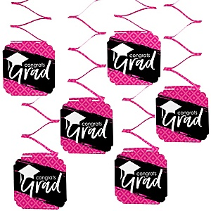 Pink Grad - Best is Yet to Come - Graduation Party Hanging Decorations - 6 ct