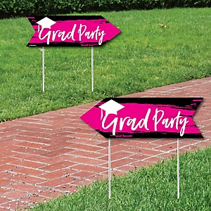 Pink Grad - Best is Yet to Come - Graduation Party Sign Arrow - Double Sided Directional Yard Signs - Set of 2