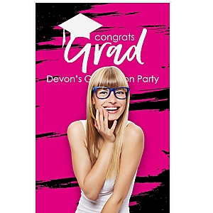 """Pink Grad - Best is Yet to Come - Personalized Graduation Party Photo Booth Backdrops - 36"""" x 60"""""""
