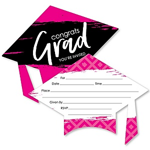 Pink Grad - Best is Yet to Come - Shaped Fill-In Invitations - Graduation Party Invitation Cards with Envelopes - Set of 12