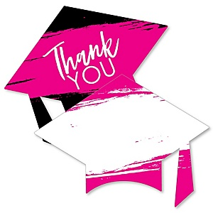 Pink Grad - Best is Yet to Come - Shaped Thank You Cards - Pink Graduation Party Thank You Note Cards with Envelopes - Set of 12