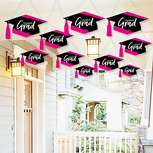Hanging Pink Grad - Best is Yet to Come - Outdoor Graduation Party Hanging Porch & Tree Yard Decorations - 10 Pieces
