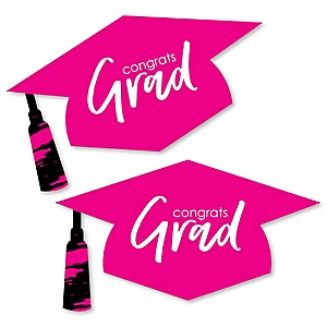 Pink Grad - Best is Yet to Come - Graduation Hat Decorations DIY Large Pink Graduation Party Essentials - 20 Count