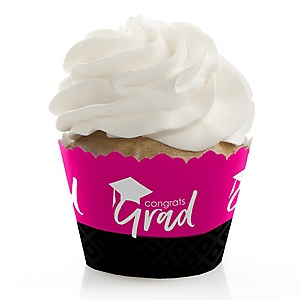 Pink Grad - Best is Yet to Come - Graduation Decorations - Party Cupcake Wrappers - Set of 12