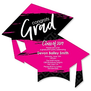 Pink Grad - Best is Yet to Come - Personalized 2019 Graduation Invitations - Set of 12