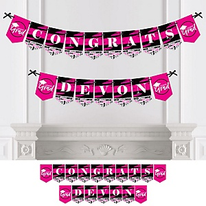 Pink Grad - Best is Yet to Come - Personalized 2019 Graduation Party Bunting Banner & Decorations