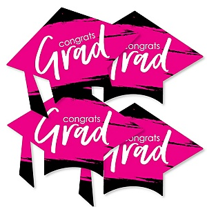 Pink Grad - Best is Yet to Come - Grad Cap Decorations DIY Pink Graduation Party Essentials - Set of 20