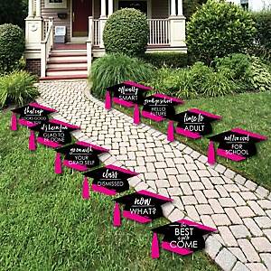 Pink Grad - Best is Yet to Come - Grad Cap Lawn Decorations - Outdoor Pink Graduation Party Yard Decorations - 10 Piece