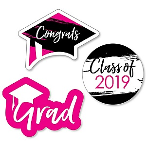 Pink Grad - Best is Yet to Come - DIY Shaped 2019 Graduation Party Paper Cut-Outs - 24 ct
