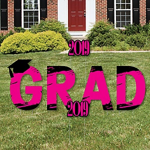 GRAD - Pink Grad - Best is Yet to Come - Yard Sign Outdoor Lawn Decorations - Pink 2019 Graduation Party Yard Signs