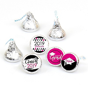 Pink Grad - Best is Yet to Come - Round Candy Labels 2019 Graduation Party Favors - Fits Hershey's Kisses 108 ct