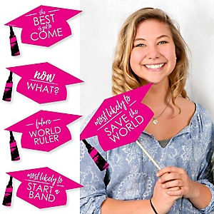Hilarious Pink Grad - Best is Yet to Come - 20 Piece Pink Graduation Party Photo Booth Props Kit