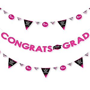 Pink Grad - Best is Yet to Come - 2019 Pink Graduation Party Letter Banner Decoration - 36 Banner Cutouts and Congrats Grad Banner Letters