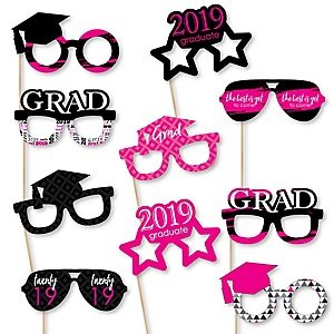 Pink Grad Glasses - Best is Yet to Come - Pink 2019 Paper Card Stock Graduation Party Photo Booth Props Kit - 10 Count