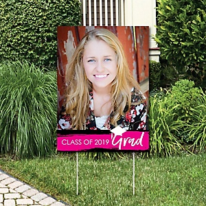 Pink Grad - Best is Yet to Come - Photo Yard Sign - Pink 2019 Graduation Party Decorations