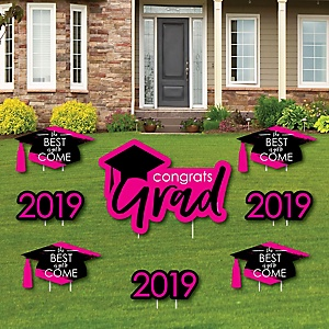 Pink Grad - Best is Yet to Come - Yard Sign & Outdoor Lawn Decorations – 2019 Graduation Party Yard Signs - Set of 8