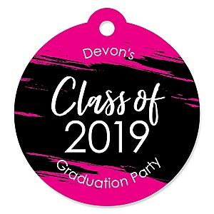 Pink Grad - Best is Yet to Come - Round Personalized 2019 Graduation Party Die-Cut Tags - 20 ct