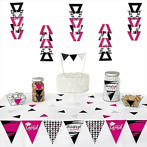 Pink Grad - Best is Yet to Come -  Triangle Graduation Party Decoration Kit - 72 Piece