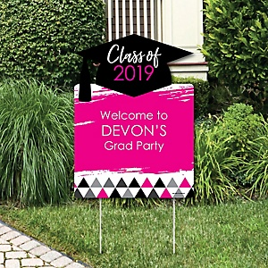 Pink Grad - Best is Yet to Come - Party Decorations - 2019 Graduation Party Personalized Welcome Yard Sign