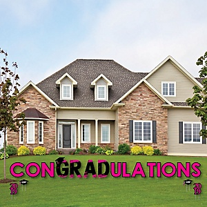 conGRADulations - Pink Grad - Best is Yet to Come - Yard Sign Outdoor Lawn Decorations - Pink 2019 Graduation Party Yard Signs