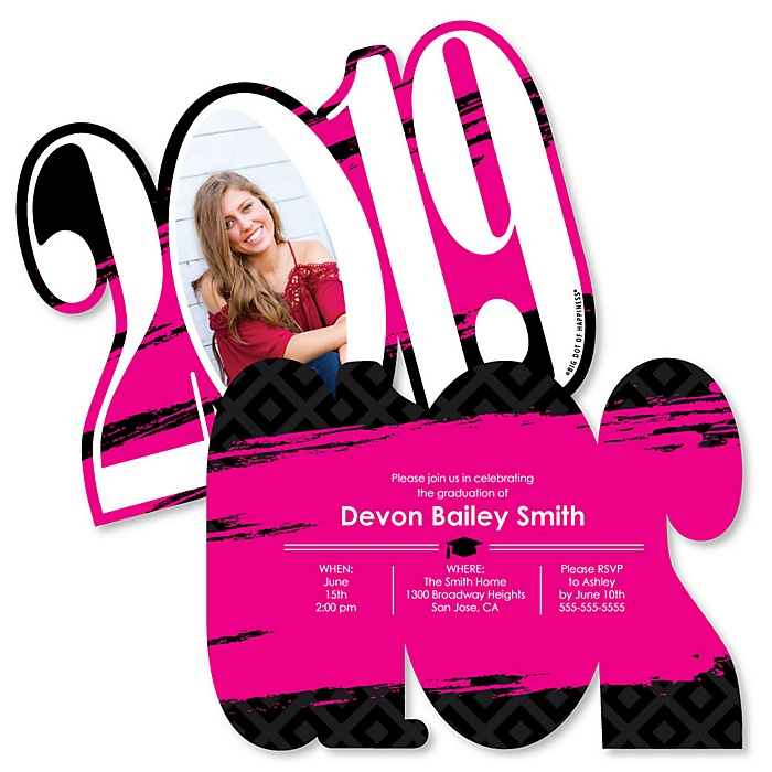 Pink Grad - Best is Yet to Come - Personalized 2019 Photo Graduation Announcement - Set of 12