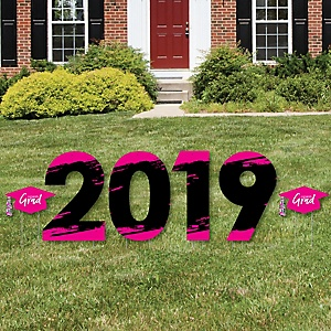 Pink Grad - Best is Yet to Come - 2019 Yard Sign Outdoor Lawn Decorations - Pink Graduation Party Yard Signs - 2019