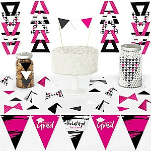 Pink Grad - Best is Yet to Come - DIY Pennant Banner Decorations - Pink Graduation Party Triangle Kit - 99 Pieces