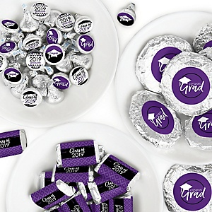 Purple Grad - Best is Yet to Come - Mini Candy Bar Wrappers, Round Candy Stickers and Circle Stickers - 2019 Purple Graduation Party Candy Favor Sticker Kit - 304 Pieces