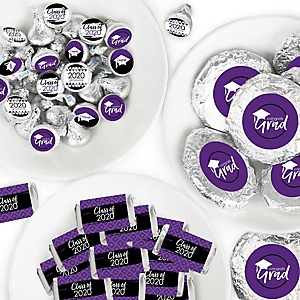 Purple Grad - Best is Yet to Come - Mini Candy Bar Wrappers, Round Candy Stickers and Circle Stickers - 2020 Purple Graduation Party Candy Favor Sticker Kit - 304 Pieces