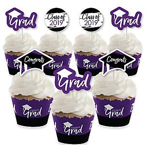 Purple Grad - Best is Yet to Come - Cupcake Decoration - 2019 Purple Graduation Party Cupcake Wrappers and Treat Picks Kit - Set of 24