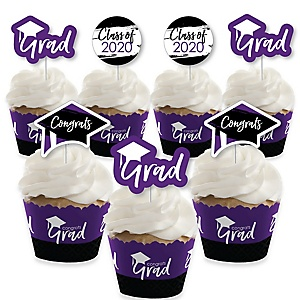 Purple Grad - Best is Yet to Come - Cupcake Decoration - 2020 Purple Graduation Party Cupcake Wrappers and Treat Picks Kit - Set of 24