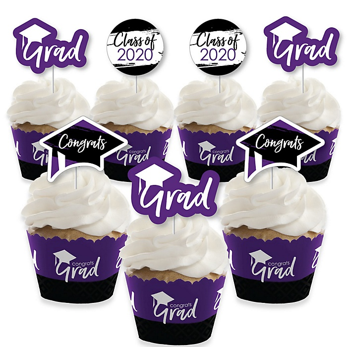 Purple Grad - Best is Yet to Come - Cupcake Decoration - 2020 Purple Graduation Party Cupcake Wrappers and Treat Picks Kit - Set of 24