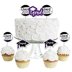 Purple Grad - Best is Yet to Come - Dessert Cupcake Toppers - Purple 2020 Graduation Party Clear Treat Picks - Set of 24