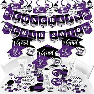 Purple Grad - Best is Yet to Come - 2019 Purple Graduation Party Supplies - Banner Decoration Kit - Fundle Bundle