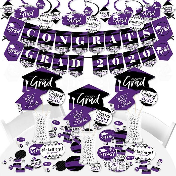 Purple Grad - Best is Yet to Come - 2020 Purple Graduation Party Supplies - Banner Decoration Kit - Fundle Bundle
