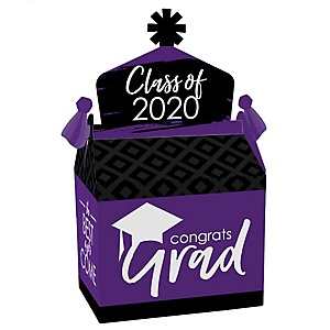 Purple Grad - Best is Yet to Come - Treat Box Party Favors - 2020 Purple Graduation Party Goodie Gable Boxes - Set of 12